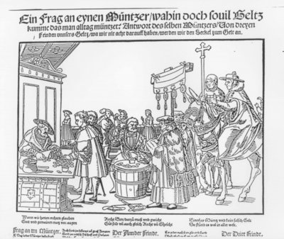 A Question to a Mintmaker, c.1500 (woodcut) (b/w photo) Fine Art Print by Joerg the Elder Breu