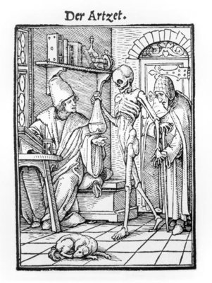 Death and the Physician, from 'The Dance of Death', engraved by Hans Lutzelburger, c.1538 (woodcut) (b/w photo) Fine Art Print by Hans Holbein The Younger