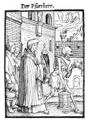 Death and the Parish Priest, from 'The Dance of Death', engraved by Hans Lutzelburger, c.1538 (woodcut) (b/w photo) Fine Art Print by Hans Holbein The Younger