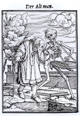 Death and the Old Man, from 'The Dance of Death', engraved by Hans Lutzelburger, c.1538 (woodcut) (b/w photo) Fine Art Print by Hans Holbein The Younger