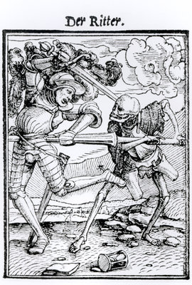 Death and the Knight, from 'The Dance of Death', engraved by Hans Lutzelburger, c.1538 (woodcut) (b/w photo) Fine Art Print by Hans Holbein The Younger
