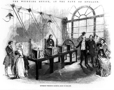 Sovereign Weighing Machine, Bank of England (engraving) (b/w photo) Fine Art Print by English School