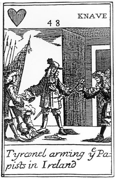 Tyrconnel Arming the Papists in Ireland, anti-catholic playing card commemorating the Glorious Revolution of 1688 (engraving) (see 115649) Fine Art Print by English School