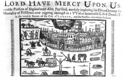 'Lord Have Mercy Upon Us': The Plague in London (woodcut) (b/w photo) Wall Art & Canvas Prints by English School