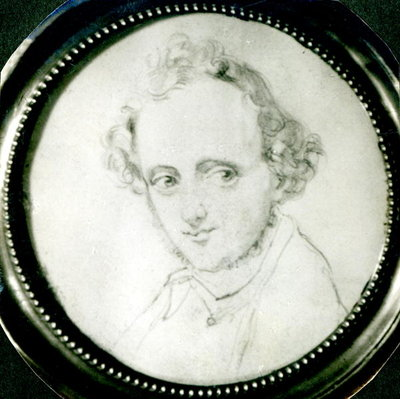 Felix Mendelssohn (1809-47) (pencil on paper) (b/w photo) Fine Art Print by German School