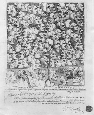 Characters and Caricatures, published in April 1743 (etching) (b/w photo) Wall Art & Canvas Prints by William Hogarth