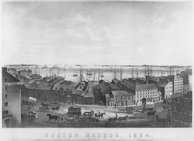 Boston Harbour, 1854 (litho) (b/w photo) Wall Art & Canvas Prints by American School