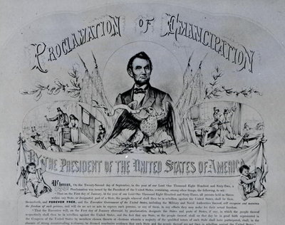 Proclamation of Emancipation by Abraham Lincoln, 22nd September 1862 Fine Art Print by American School
