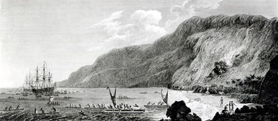 A View of Karakakooa, in Owyhee, engraved by W. Byrne (engraving) (b/w photo) Wall Art & Canvas Prints by John Webber