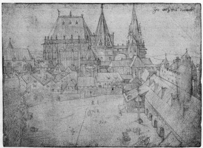 The Minster at Aachen, 1520 (silverpoint on paper) (b/w photo) Wall Art & Canvas Prints by Albrecht Dürer or Duerer