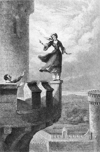 Rebecca, from 'Ivanhoe' by Walter Scott (1771-1832) (engraving) (b/w photo) Wall Art & Canvas Prints by George Cruikshank
