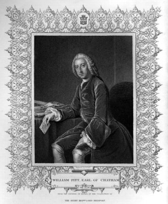 Portrait of William Pitt, 1st Earl of Chatham, engraved by William Holl the Younger Fine Art Print by William, of Bath Hoare