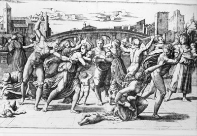 The Massacre of the Innocents, engraved by Marcantonio Raimondi Fine Art Print by Raphael