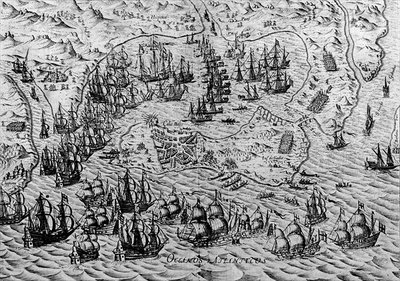 The Capture of Cadiz, 21 June 1596 (engraving) Fine Art Print by English School