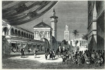 A Bazaar at Tunis Fine Art Print by Emile Theodore Therond