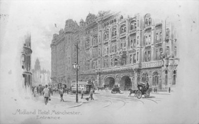 The Midland Hotel, Manchester, c.1910 (litho) (b/w photo) Fine Art Print by English School