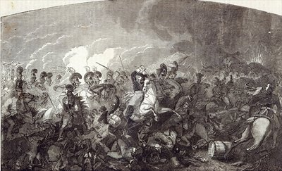 Charge of Lord Somerset's Heavy Brigade at Waterloo, and total rout of the French Army, illustration from 'Cassell's Illustrated History of England' Fine Art Print by English School