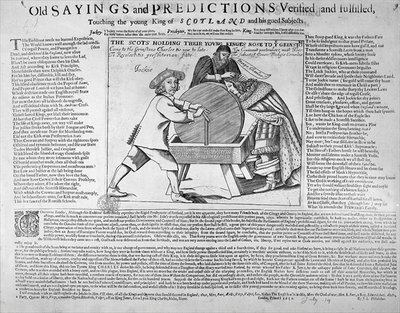 'Old Sayings and Predictions verified and fulfilled, touching the young King of Scotland and his gued Subjects', published in 1651 Poster Art Print by English School