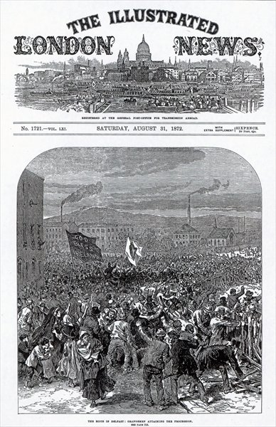 The Riots in Belfast: Orangemen attacking the procession, cover of 'The Illustrated London News', August 31st 1872 Fine Art Print by English School