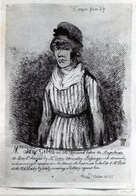 Mrs. Jane Gibbs as she appeared before the Magistrate, 1799 Fine Art Print by English School