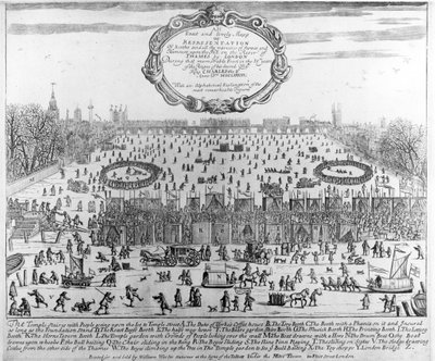 The Frost Fair of the winter of 1683-84 on the Thames, with Old London Bridge in the Distance. c.1684 Fine Art Print by English School