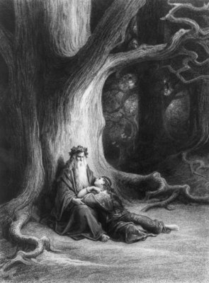 The Enchanter Merlin and the Fairy Vivien in the forest of Broceliande, from 'Vivien', poem by Alfred Tennyson Fine Art Print by Gustave Dore