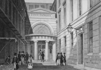 Stock Exchange, London, from 'Metropolitan Improvements; or London in the nineteenth century', c.1828 Poster Art Print by Thomas Hosmer Shepherd
