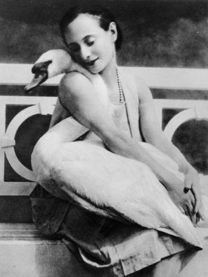 Anna Pavlova with her pet swan Jack, c.1905 Fine Art Print by English Photographer
