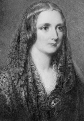 Mary Shelley, an idealised portrait created after her death (oil on enamel) Wall Art & Canvas Prints by Reginald Easton