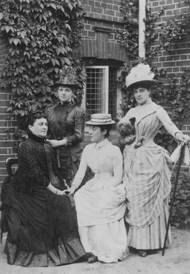 Jennie Jerome, later Lady Randolph Churchill, with her mother and sisters (b/w photo) Fine Art Print by English Photographer