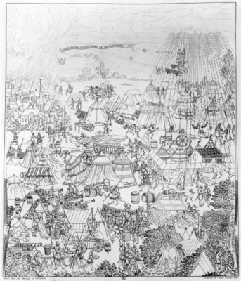 The Encampment of King Henry VIII at Marquison, July 1544, etched by James Basire, 1788 Fine Art Print by Samuel Hieronymous Grimm
