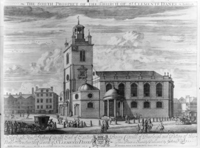 The South Prospect of the Church of St. Clements Danes, London (engraving) Wall Art & Canvas Prints by Johannes Kip