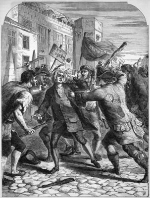 The 'No Popery' rioters attacking the Members of Parliament in Palace Yard Fine Art Print by English School