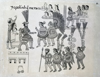 The last Aztec Emperor Cuauhtemoc surrenders, plate from 'Antiguedades Mexicanas' by Alfredo Chavero, 1892 Poster Art Print by Spanish School
