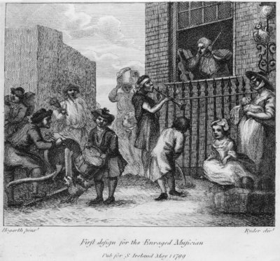 First Design for The Enraged Musician, 1799 Fine Art Print by William Hogarth
