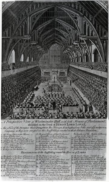 Trial of Simon Fraser, Lord Lovat, in Westminster Hall, 1747 Fine Art Print by English School