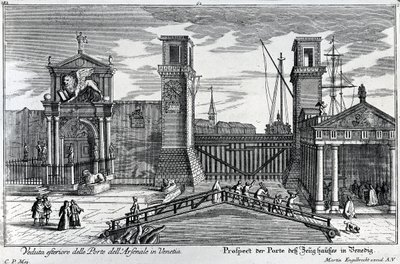 View of the gates at the entrance to the Arsenal in Venice, published by Martin Engelbrecht, c.1740s (engraving) Fine Art Print by German School