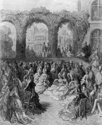 Holland House - A Garden Party, from 'London, a Pilgrimage', written by William Blanchard Jerrolds Fine Art Print by Gustave Dore
