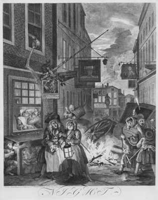 Times of the Day, Night, 1738 (engraving) Wall Art & Canvas Prints by William Hogarth