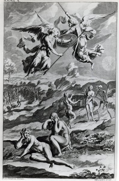 Adam and Eve after the Fall, illustration from John Milton's 'Paradise Lost', engraved by Michael Burghers, sixth edition 1695 Fine Art Print by Sir John Baptist de Medina