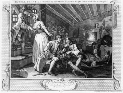 The Idle 'Prentice Betrayed by a Prostitute, plate IX of 'Industry and Idleness', 1747 Fine Art Print by William Hogarth