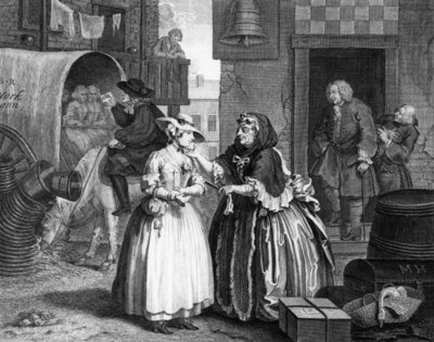A Harlot's Progress, plate I, Ensnared by a Procuress (engraving) Postcards, Greetings Cards, Art Prints, Canvas, Framed Pictures & Wall Art by William Hogarth