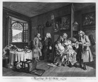 Marriage a la Mode, Plate VI, The Lady's Death, 1745 (engraving) Fine Art Print by William Hogarth