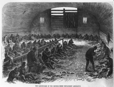 The Labour Yard of the Bethnal Green Employment Association, from 'The Illustrated London News', 1868 (engraving) Fine Art Print by English School