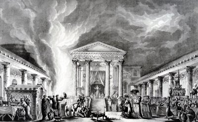 The Temple of Isis, Pompeii, illustration from Saint Non's 'Voyage pittoresque de Naples et de Sicile', etched by Duplessi-Bertaux and d'Agoty, 1781 (etching) Wall Art & Canvas Prints by Louis Jean Desprez