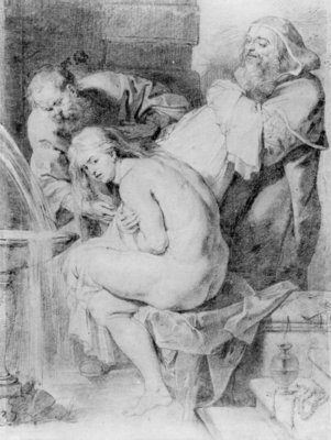 Susanna and the Elders, drawn by Lucas Vorsterman, c.1620 (chalk, pen & ink on paper) Fine Art Print by Peter Paul Rubens