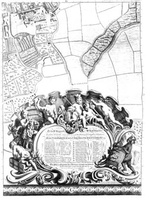 Inscription from Rocque's map of London, listing the city's Aldermen and their areas, 1746 (engraving) Fine Art Print by John Rocque