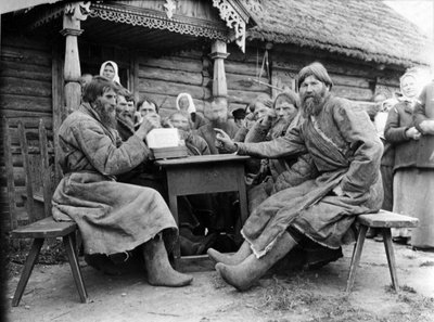 Meeting of Russian Peasant Elders in a Mirskoi Skhod (b/w photo) Wall Art & Canvas Prints by Russian Photographer