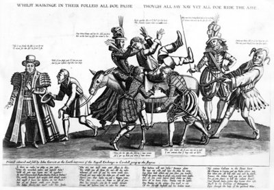 While maskinge in their folleis all doe passe, though all say nay yet all doe ride the asse, 1607 (engraving) Wall Art & Canvas Prints by Renold Elstrack