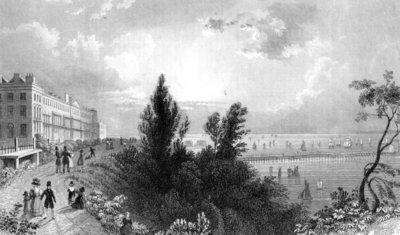 Southend Terrace, Essex, engraved by Henry Wallis, 1832 (engraving) Fine Art Print by William Henry Bartlett
